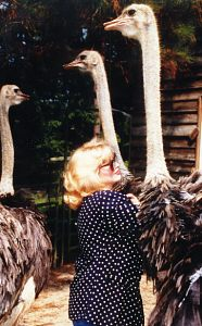Madeleine w/ Ostriches at Blue Heaven Ostrich Ranch